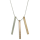 Women simple style jewelry engraved name logo vertical rose gold silver bar necklace