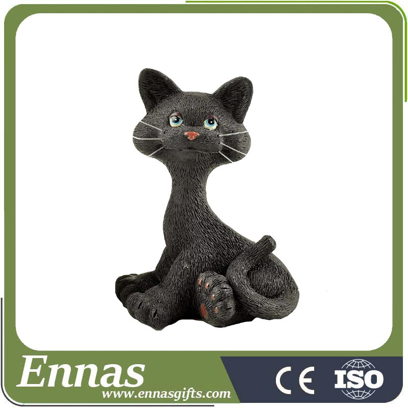 Polyresin animated halloween cat craft decoration