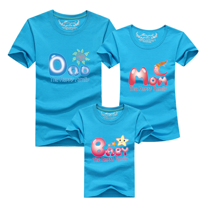 1pc Family Clothes For Mother Father Baby 2016 Cotton Summer High Quality T shirt Matching Mother