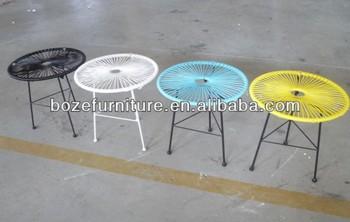 Resin Wicker Small Coffee Side Table/ Iron Patio Furniture