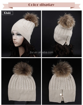 15c37e43d43 Funny Winter Hats For Women Knitting Wool Hat Raccoon Fur Pom Poms With  Button