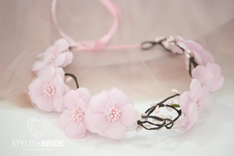 Wedding Flower Hair Vine, Flower Pink Wreath, Pink Wedding Headband, Flower Pink Wedding Hairpiece, Bridesmaides Wedding Hair Vine