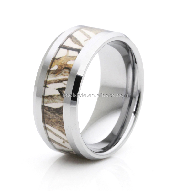 Very nice 10mm tree camo inlay tungsten men ring with comfort fit