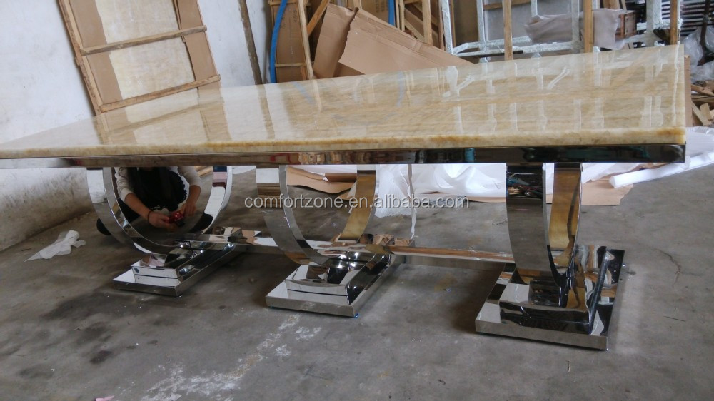 A8026 Latest Designs Long 12 Seater Marble Dining Table