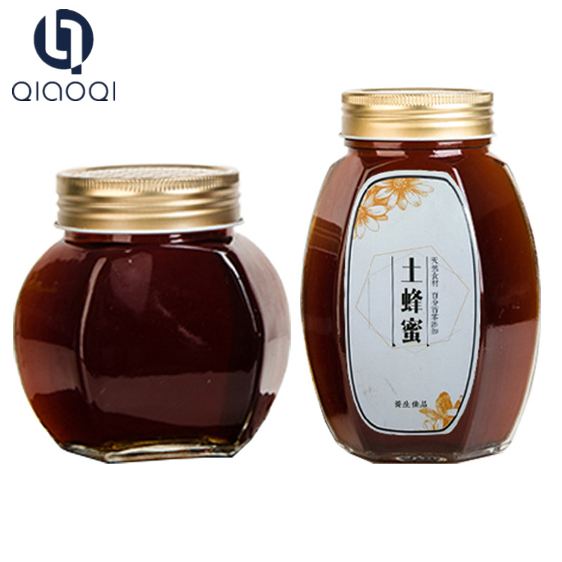 Honey packing jar with metal golden lid