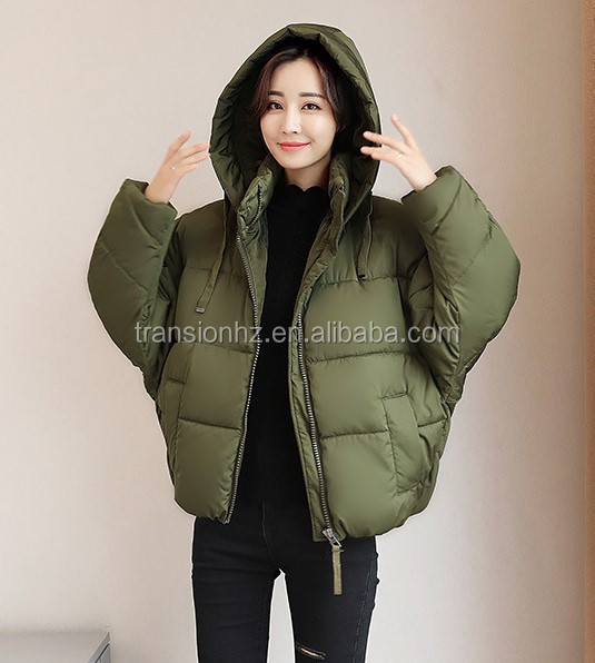 women winter puffy padded warm windproof jacket with hood