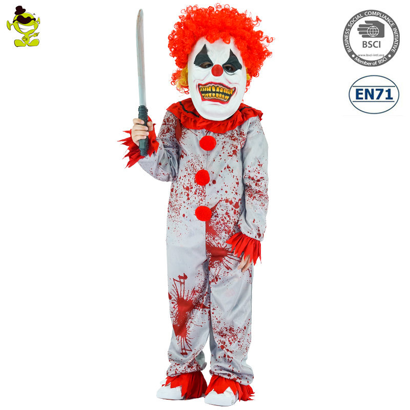 New Design Halloween Role Play Child Ghost Jumpsuit Killer Clown