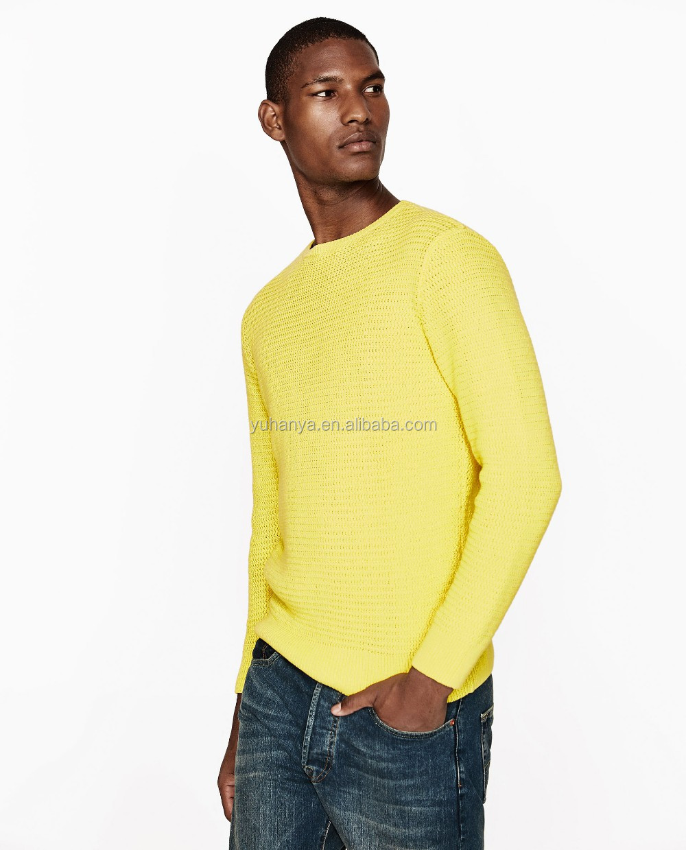 Factory Price Knitted Plain Yellow Pullover Handmade Sweater ...