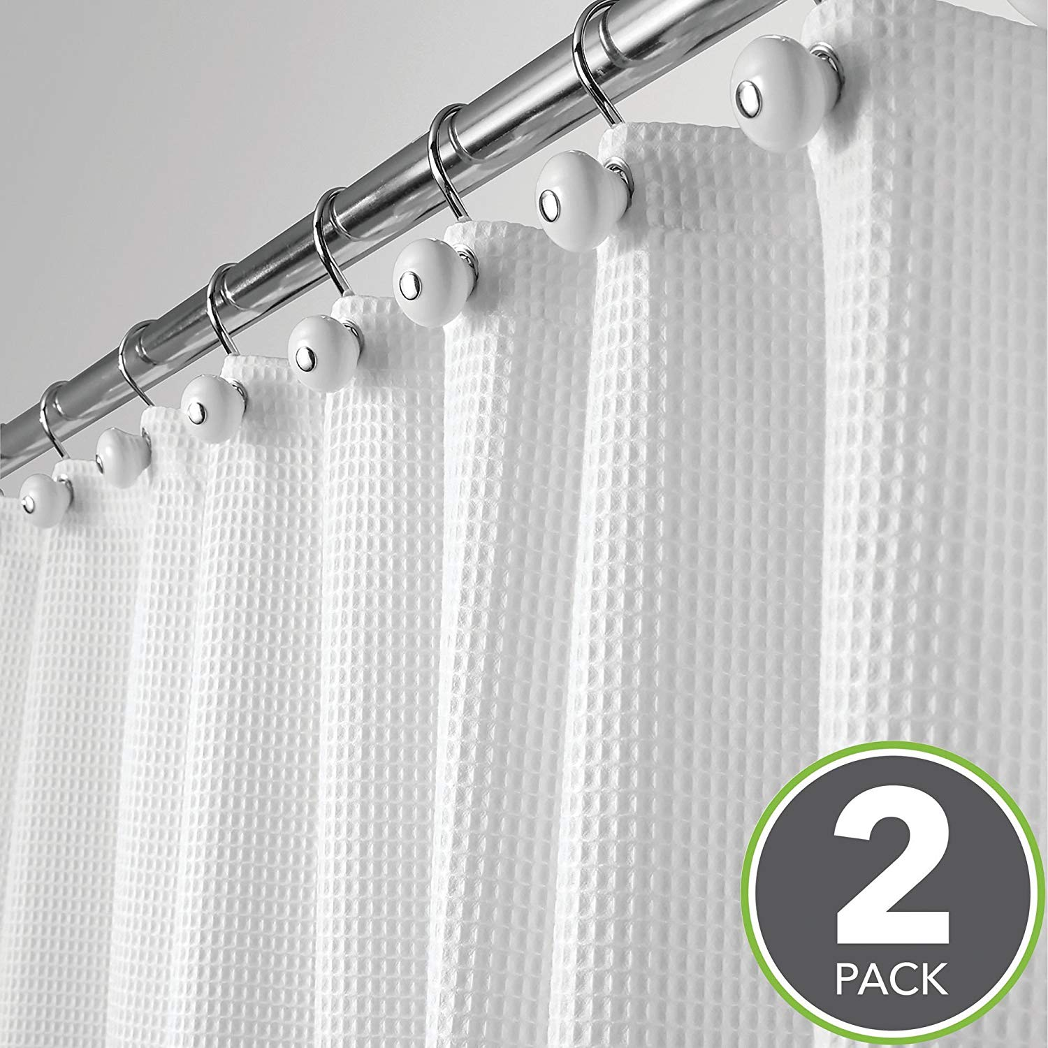 Get Quotations · MDesign Long Hotel Quality Polyester/Cotton Blend Fabric  Shower Curtain, Rustproof Metal Grommets