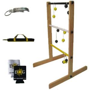 The Day of Games Wooden Ladder Toss Game, Yellow/Black/White