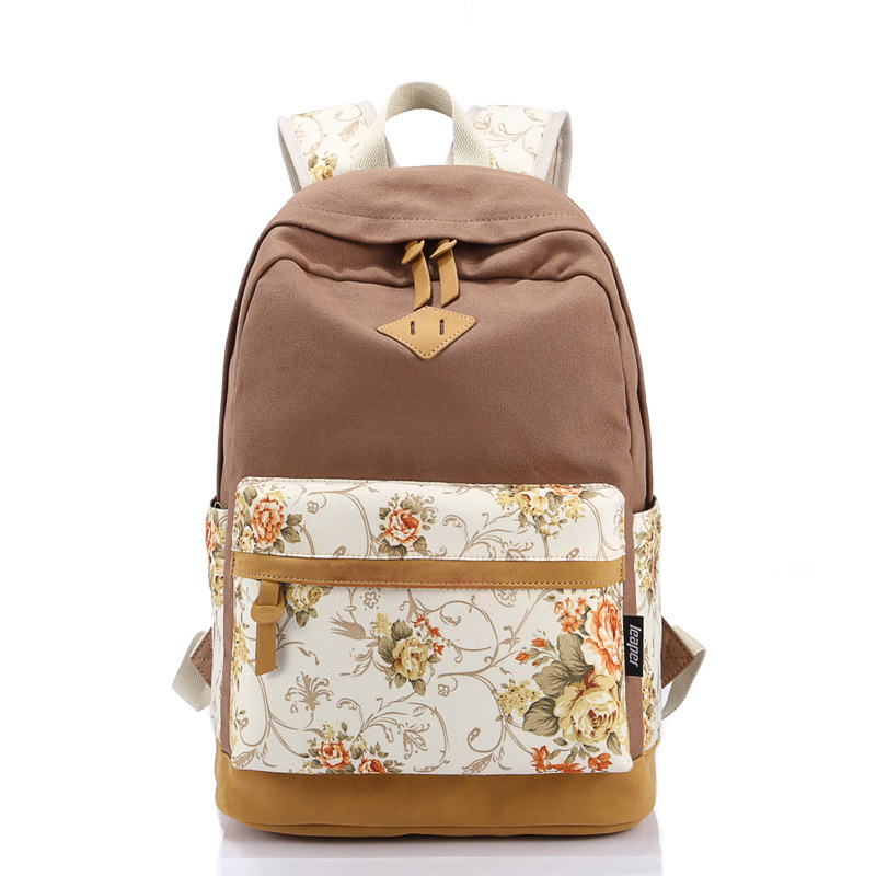 6b0c36289f Get Quotations · 2015 New Fashion Women Canvas Backpack Preppy Style  Teenager College Girls School Bags Floral Print Large