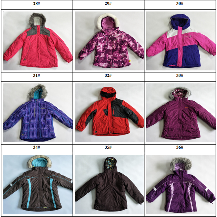 Assorted styles activewear wadded jacket overstock clearance for kids