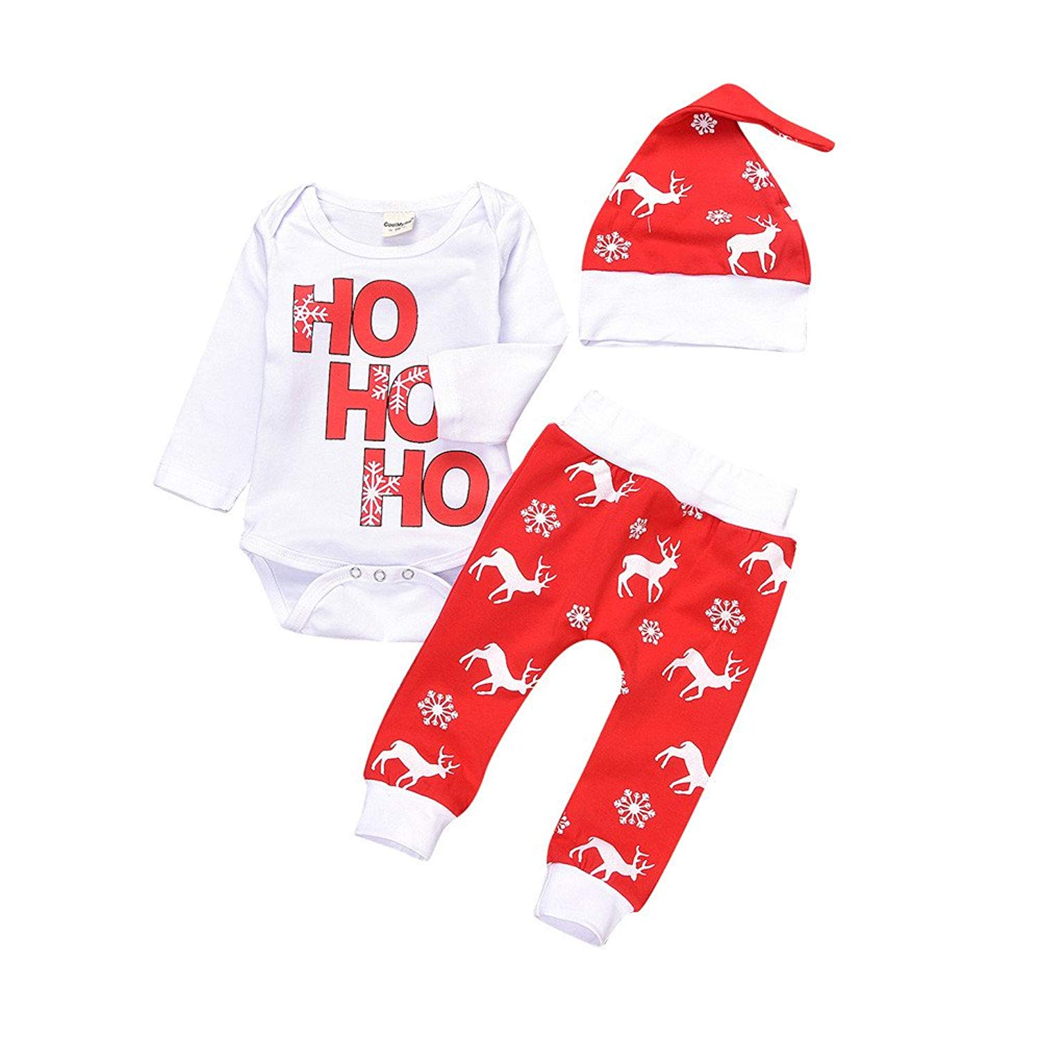 3ef6b4a3a50 3pcs Xmas Newborn Infant Baby Boy Girl Deer Letter Print Romper Tops+