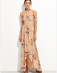 Women printed long dress custom design women maxi dress wholesale