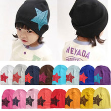 Five pointed star autumn baby cap knitted warm cotton beanie font b hat b font for