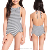 China wholesale One Piece lovely Girls Swimwear halter high quality Kids Swimsuit