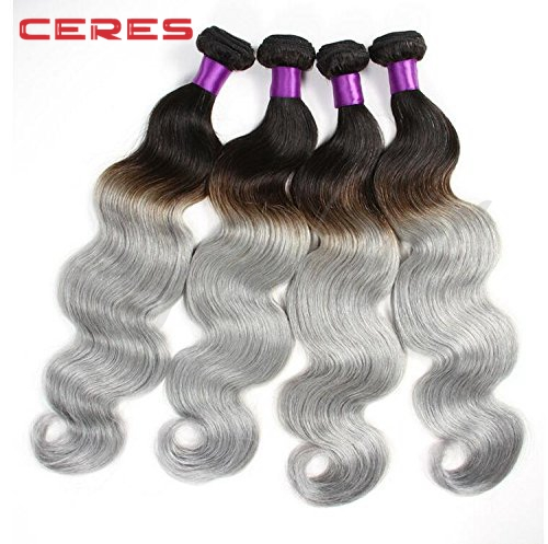 Two Tone 1B Grey Body Wave grey mix yaki remi remy human hair weave Cheap brazilian grey remy human hair sew in weave