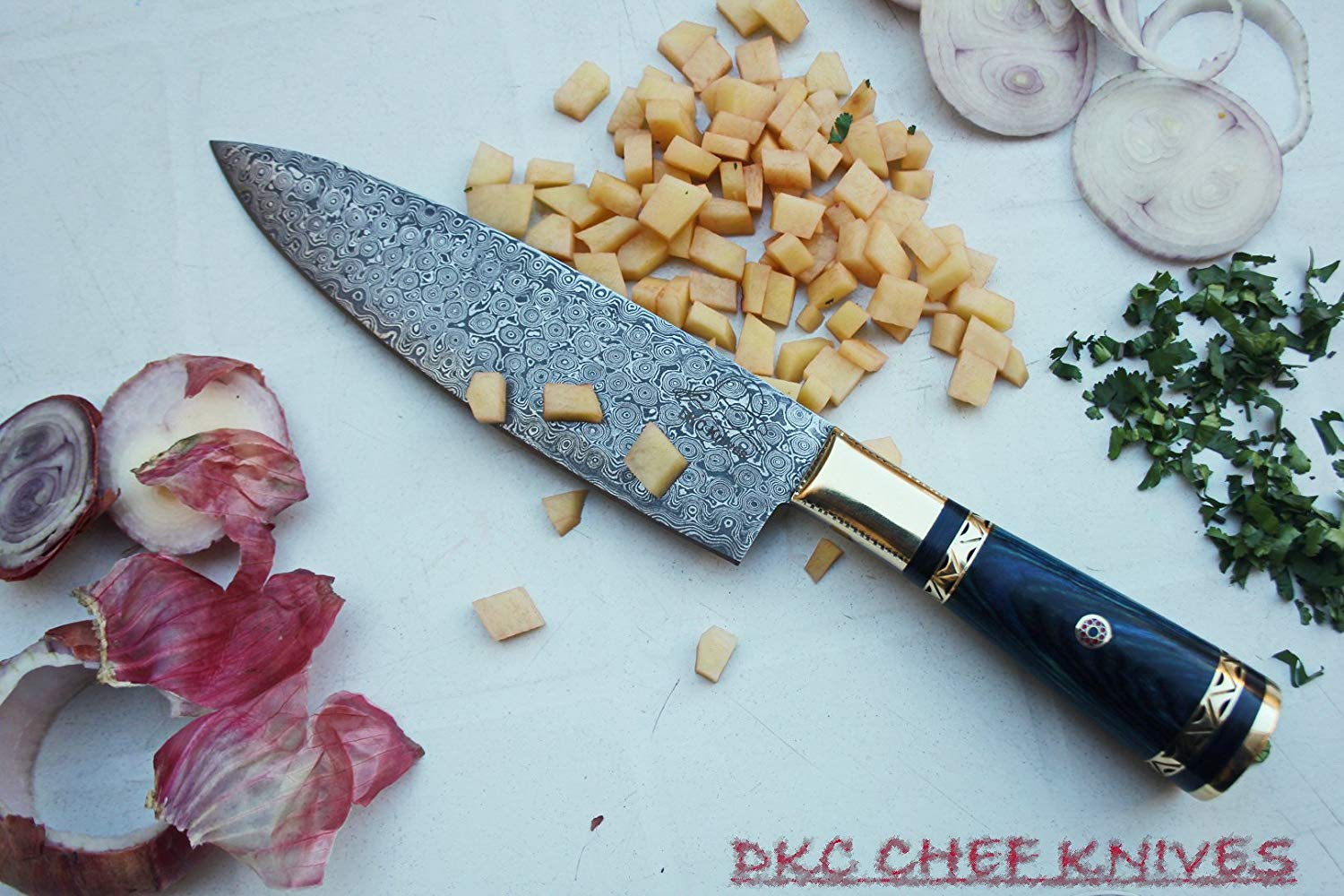 "(6 7/18) DKC-533-DS-BL Grand Master Chef Knife Blue Handle Damascus Steel DKC Knives 16.8 oz 12"" Long 7.5"" Blade (Blue Handle Damascus Blade)"