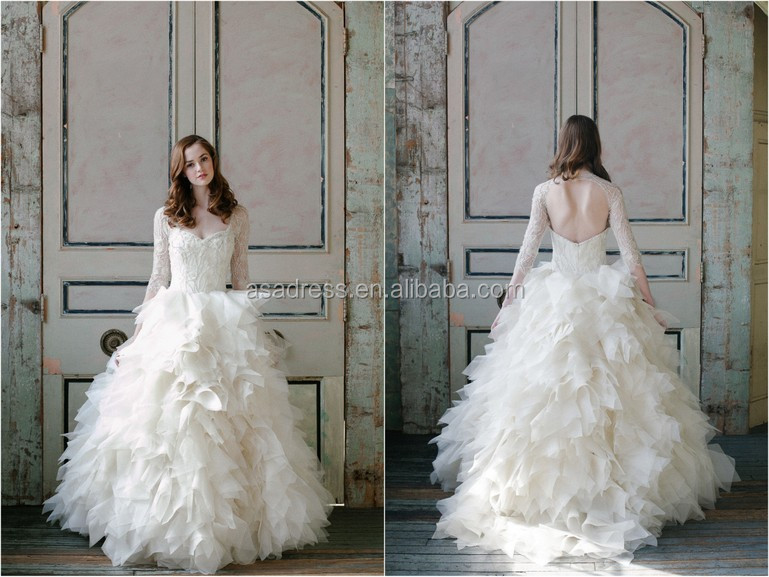 Ruffled Organza Wedding Dress