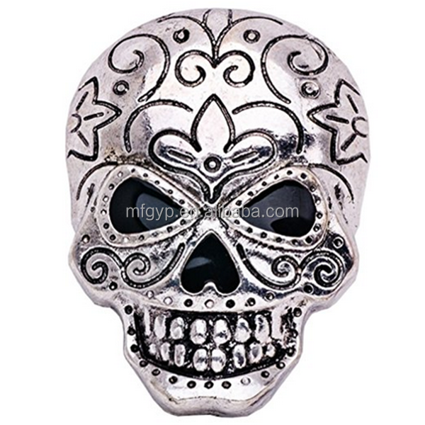 Men's Silver Skull Halloween Lapel Pins Rhinestones Costume Brooch Pin