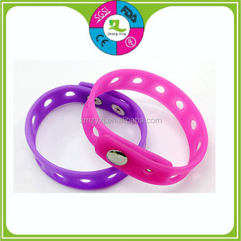 Silicone Rubber Hollow Wrist Bands Adjule Snap On Bracelets