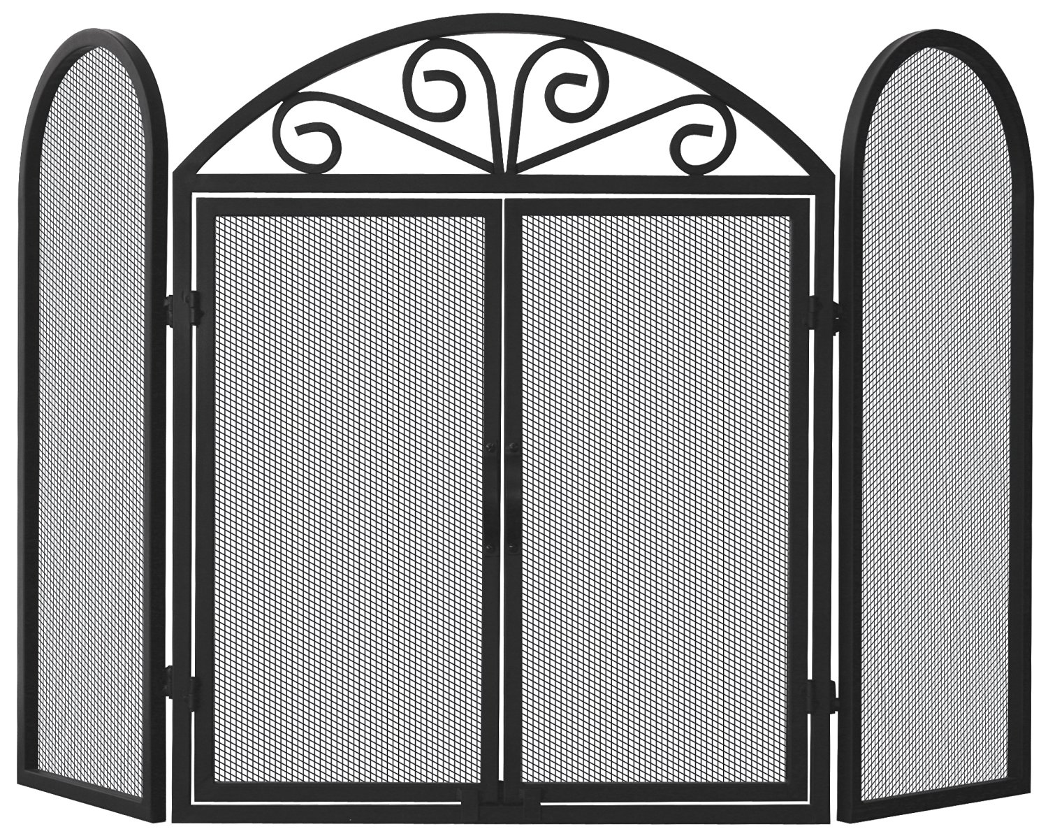 UniFlame 3-Fold Black Wrought Iron Screen with Scrolls