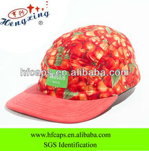 Fruit pattern 5 panel hat custom cotton 3D digital printed 5 panel hat