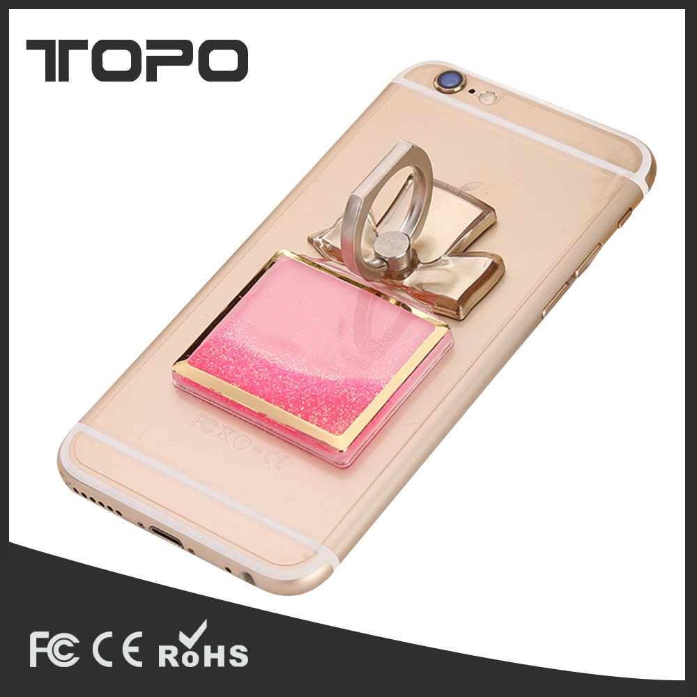 3D Moving Ring Stand perfume bottle design 360 degree rotating quicksand bling glitter liquid Floating phone ring holder