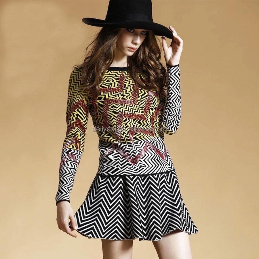 Wave Pattern Wool Handmade Sweater Design For Girl Sweater Design ...