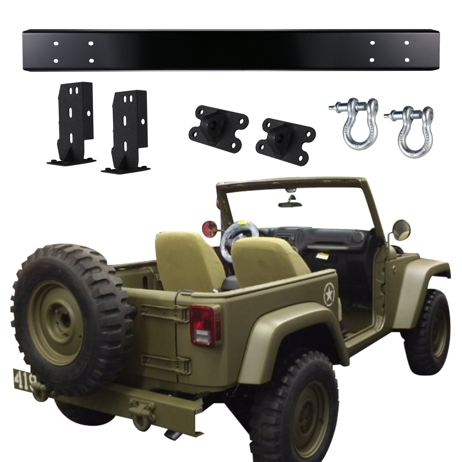 Cheap Willys Jeep Price Find Deals On Line At 1941 To 1952 Get Quotations U Box Matte Black 75th Mb Salute Edition Rear Bumper With D Ring