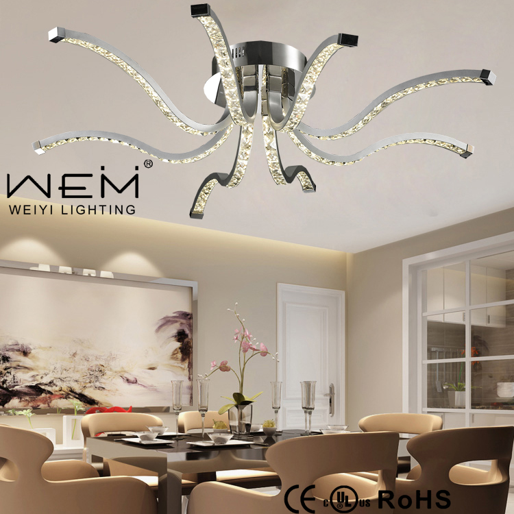 Newly Unique Design Octopus Shape Led Crystal Ceiling Light Weiyi Lamp Modern