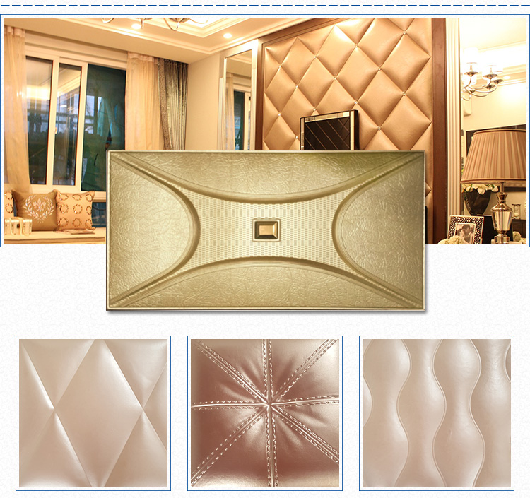 High Quality Rhombus 3d Leather Wall Decoration Tv Wall Panel Board ...