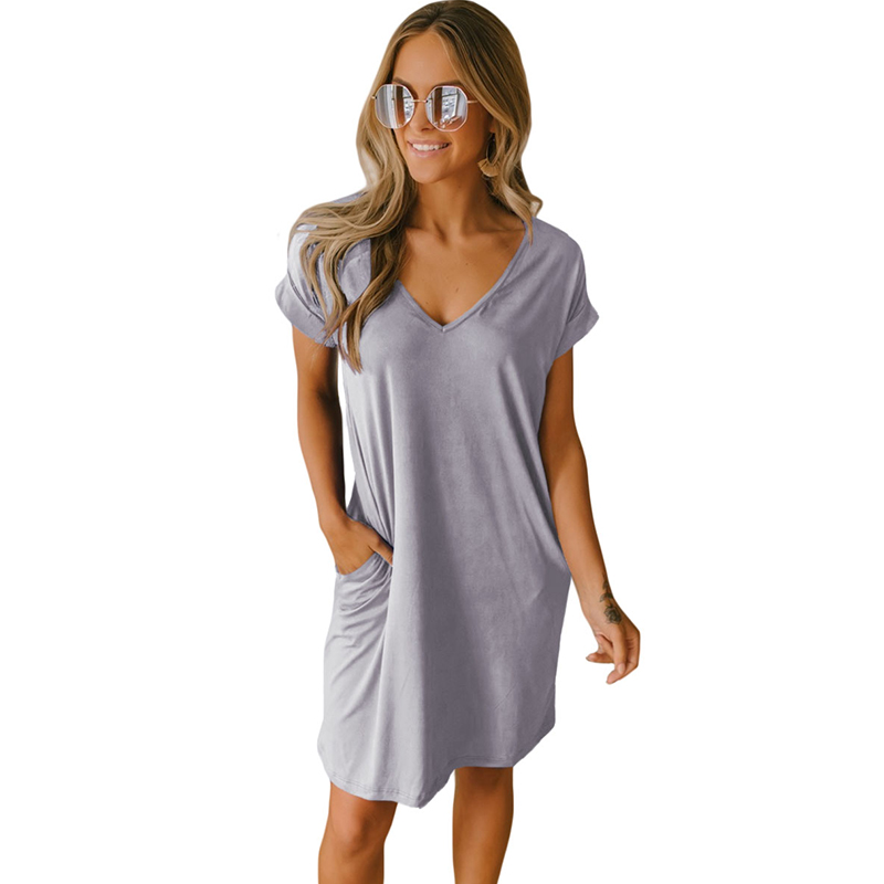 New Arrive V Neck Cuffed T-shirt Short Sleeve Casual Dress For Female