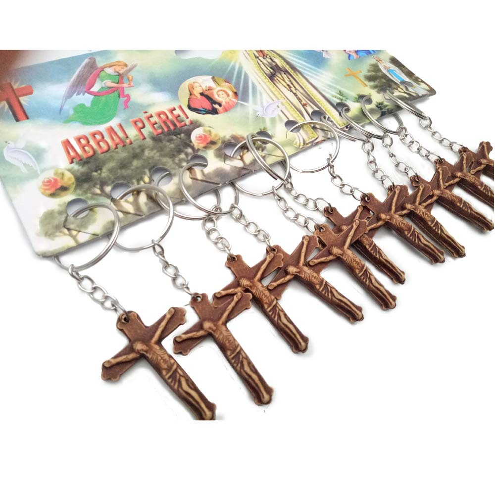 catholic jesus crucifix cross keychain