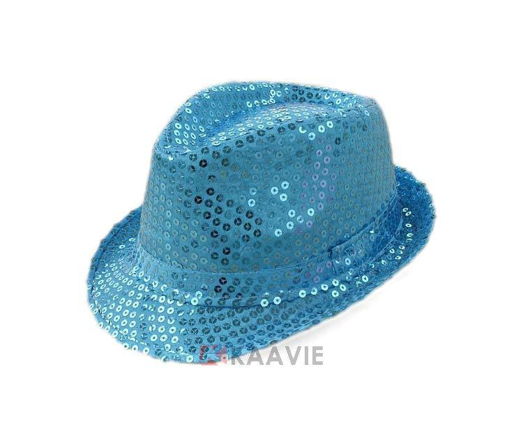 Moda glitter estilo jazz trilby fedora chapéu de festa chapéu de ano novo  adulto crianças sequin 9228e15a4a2