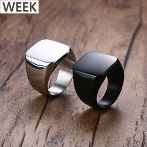 Week Factory Wholesale Brief High Polish 316L Stainless Steel Black Silver Gold Mens Finger Rings