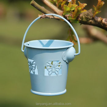 Small Blue Butterfly Tin Pail Wedding Candy Box Metal Buckets Buy
