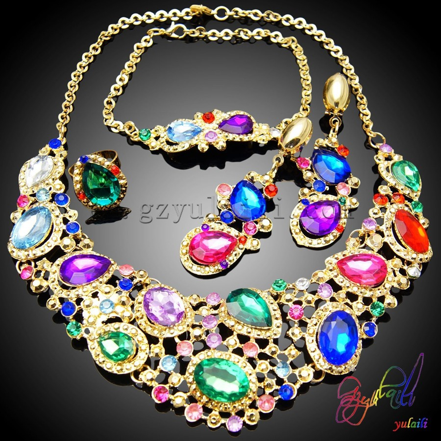 Latest design jewellery set wedding or party jewellery set 18k gold plated imitation jewellery