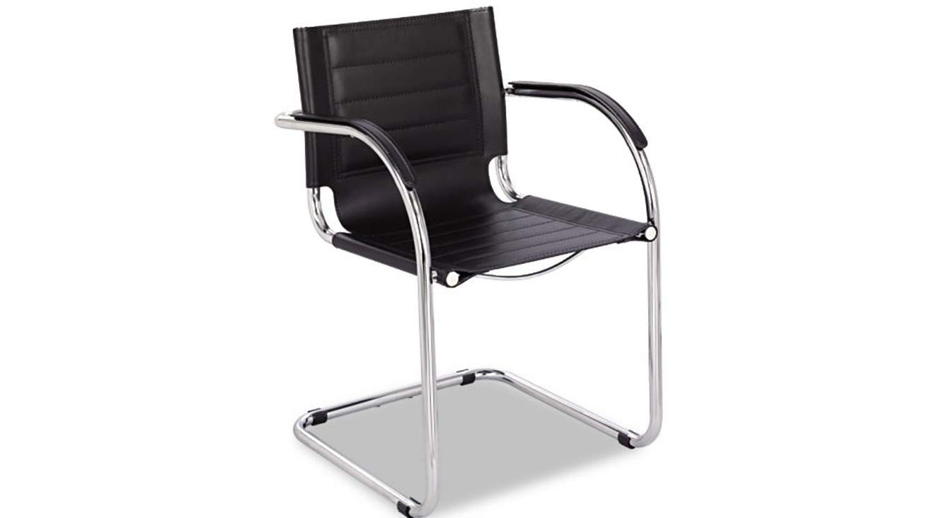 Guest Chair Chrome Metal Frame Flaunt Series Black Leather/Chrome K&A Company