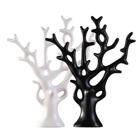 White and black ceramic prosperity tree craft for gift or decoration