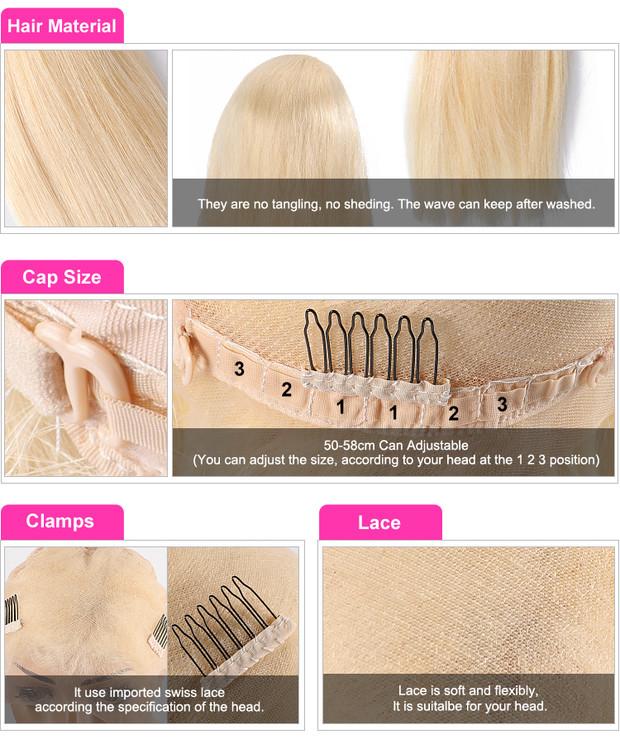 Brasiliano cuticola allineati capelli di remy dei capelli umani di 613 brasiliano di 100 dei capelli del virgin completa parrucche del merletto