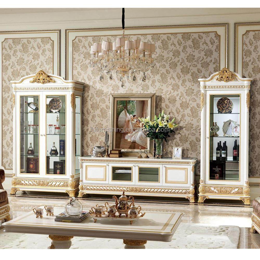 Yb62 french rococo style living room furniture wine display cabinet with tv stand antique for French style living room furniture