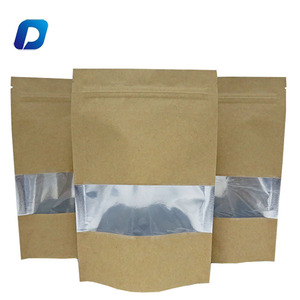 Factory supply stand up zipper aluminum foil lined plain kraft paper bag with window