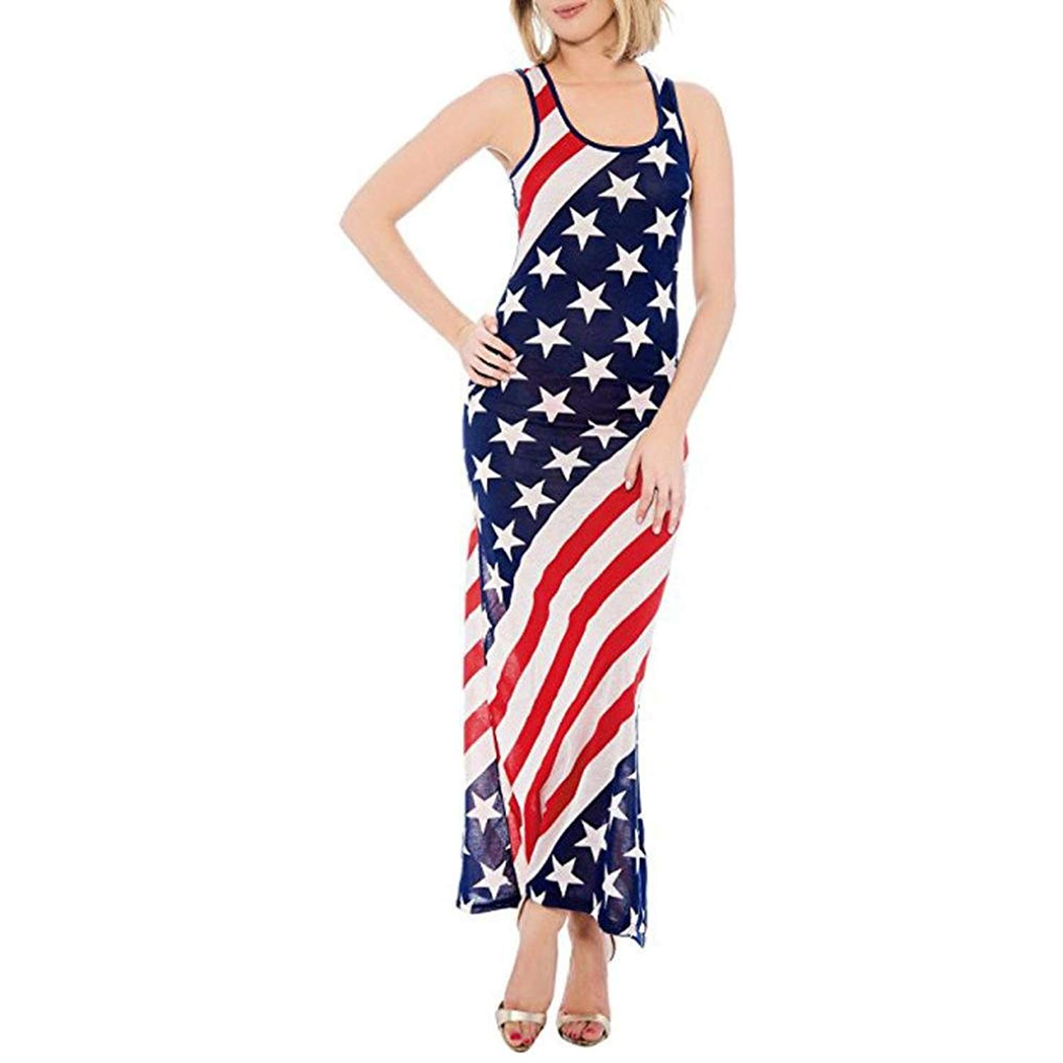 127532884557 Get Quotations · vermers Women Long Dress, July 4th American Flag Summer  Maxi Dresses Stars and Stripes