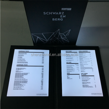 2 pages a4 led menu cover m8511 club restaurant menu cover with led
