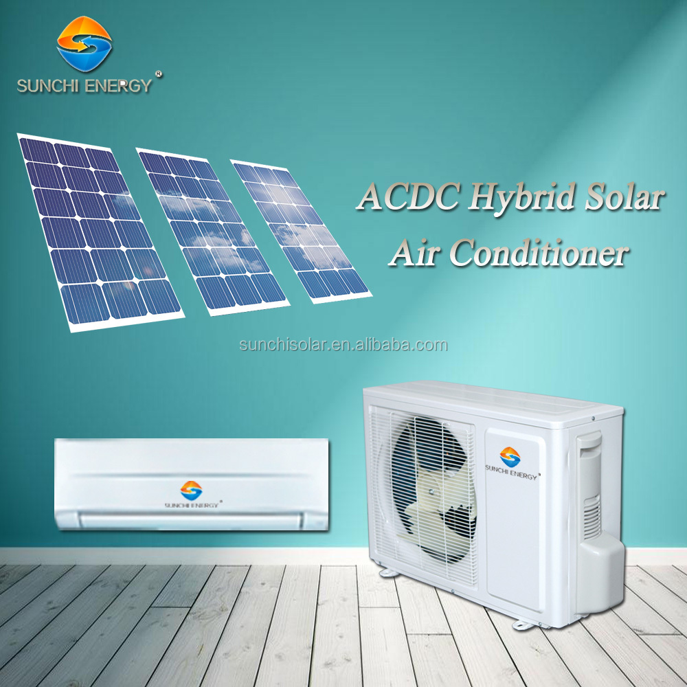 ACDC hybrid hot area room package cooling no noise 9000btu 12000btu portable solar air conditioning units