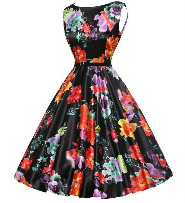Walson Women's Floral 1950s Vintage Party Cocktail Swing Dresses