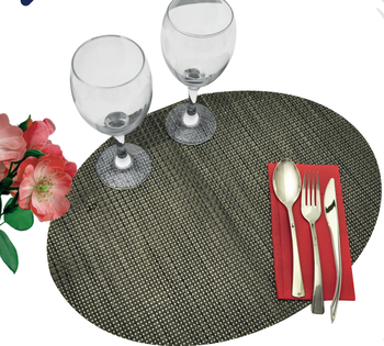 Mantel individual Oval Plastic PVC Vinyl coated Mesh tablemat placemat