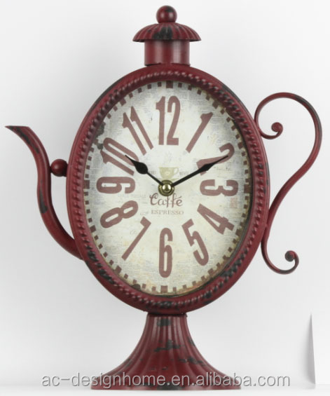 ANTIQUE RED TEAPOT SHAPE TABLE TOP DECORATIVE METAL CLOCK