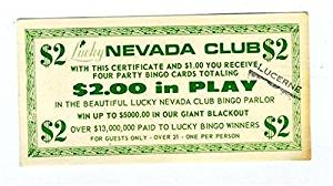 Nevada Club $2.00 Bingo Party Card Certificate 1950's Las Vegas Nevada
